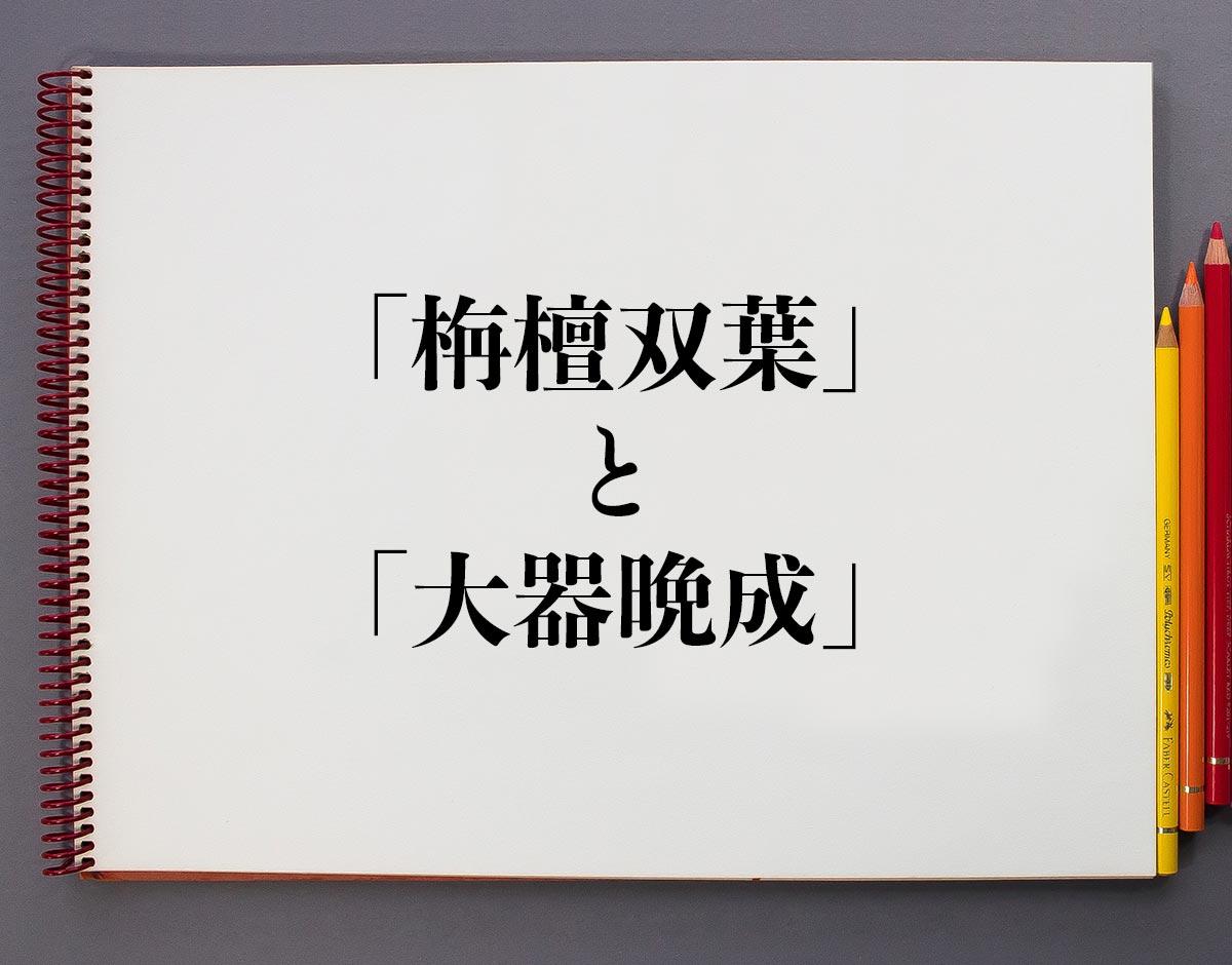 「栴檀双葉」と「大器晩成」の違い
